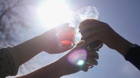 一群人使叮当响的杯与饮料的美丽的玻璃反对天空和太阳与透镜作用 HD 股票录像