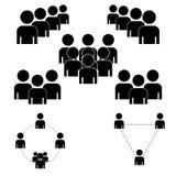 一群人或小组用户 朋友导航应用和网站的平的象 在白色背景的黑象 向量例证