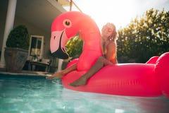 一群桃红色火鸟的女孩在水池 免版税库存照片