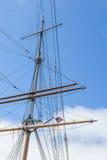 一老大sailingboat的帆柱 免版税库存照片