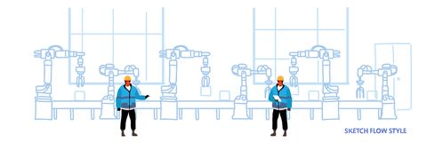 一致的控制工厂生产传动机自动装配线的机械工业自动化工程师 库存例证