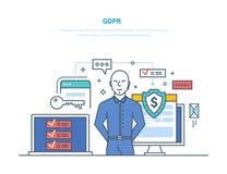 一般数据保护章程 GDPR 保证的安全保护和加密 库存例证