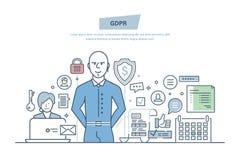 一般数据保护章程 GDPR 密码secutiry,信息的机密 向量例证