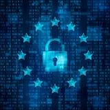 一般数据保护章程- GDPR 挂锁标志,安全的数据 在蓝色矩阵背景的星 向量 免版税库存图片