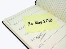 一般数据保护章程GDPR - 2018年5月25日 免版税库存图片