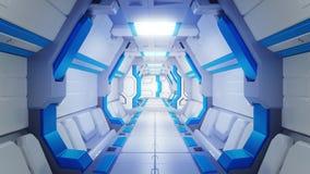 一艘太空飞船的白色走廊有蓝色装饰的 科学幻想小说航天器3d illustartions 向量例证