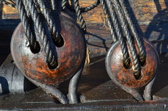 一艘有历史的风帆船的详细资料 免版税库存照片