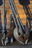 一艘有历史的风帆船的详细资料 库存照片