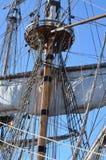 一艘有历史的风帆船的详细资料 库存图片
