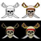一艘海盗船的头骨乘员组与横渡的剑的 向量例证