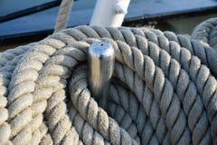 一艘老帆船的索具 免版税图库摄影
