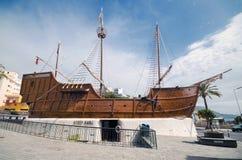 一艘被重建的船的海博物馆在拉帕尔玛岛,加那利群岛,西班牙 库存照片