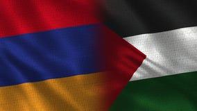 一起亚美尼亚和巴勒斯坦半旗子 皇族释放例证