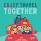一起享用旅行印刷术海报 库存例证