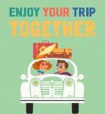 一起享用旅行印刷术海报 皇族释放例证