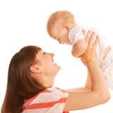 一起使用的母亲和的婴孩。 愉快的家庭。 库存图片