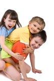 一起使用逗人喜爱的孩子 免版税库存照片