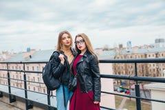 一起俏丽的妇女夫妇在都市风景 屋顶的两个快乐的美丽的女孩 美好的城市视图 免版税库存图片