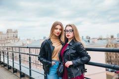 一起俏丽的妇女夫妇在都市风景 屋顶的两个快乐的美丽的女孩 美好的城市视图 库存照片