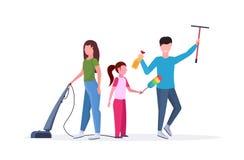 一起做家事父亲的家庭抹玻璃窗母亲使用吸尘器女儿拂去的灰尘的清洁 库存例证