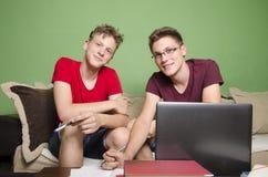 一起做家庭作业的两个兄弟 库存照片