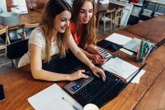 一起做家庭作业的两个微笑的女学生使用坐在书房的膝上型计算机 免版税库存图片