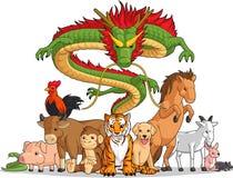 一起全部12个中国黄道带动物 免版税库存照片