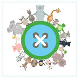 一起另外种类动物在地球 Environmenta 库存例证
