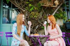 一起喝咖啡的两名巴黎人妇女在咖啡馆 免版税库存照片