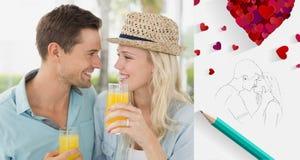 一起喝橙汁的熟悉内情的年轻夫妇的综合图象 图库摄影