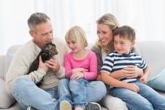 一起坐与宠物小猫的愉快的家庭 免版税库存图片