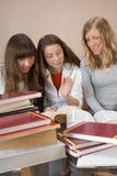 一起学习的女孩 库存照片