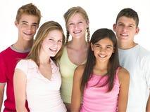 一起微笑五个的朋友 免版税图库摄影