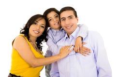 一起微笑愉快的西班牙家庭的画象 免版税库存图片