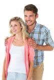 一起微笑有吸引力的夫妇年轻人 免版税图库摄影