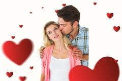 一起微笑有吸引力的年轻的夫妇的综合图象 免版税图库摄影