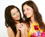 一起微笑朋友的女孩二 免版税库存图片