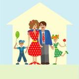 一起摆在画象的家庭 免版税库存图片