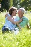 一起放松在夏天领域的资深夫妇 免版税库存照片
