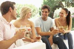 一起放松在沙发饮用的酒的小组年轻朋友 库存图片