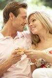 一起放松在沙发饮用的酒的年轻夫妇画象  库存图片