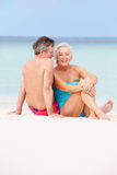 一起放松在美丽的海滩的资深夫妇 图库摄影