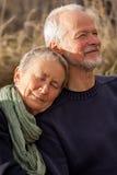 一起放松在阳光下的愉快的资深夫妇 免版税库存照片