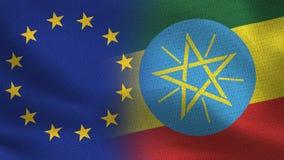 一起欧盟和埃塞俄比亚现实半旗子 库存例证