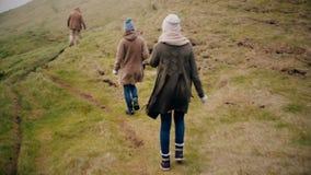 一起步行在冰岛的小组年轻人 两走通过领域的妇女和人,探索的新的国家 股票视频