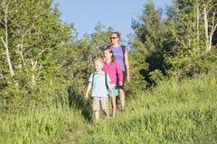 一起步行在山森林里的家庭 免版税库存照片