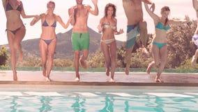 一起潜水在水池的愉快的朋友 股票录像