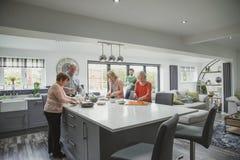 一起烹调膳食的家庭 库存照片