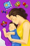 一起睡觉母亲的婴孩 免版税库存照片