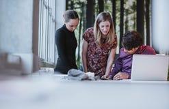 一起研究一个创造性的想法的年轻企业队 免版税图库摄影